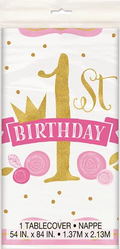 1ST BIRTHDAY PINK & GOLD TABLECOVER