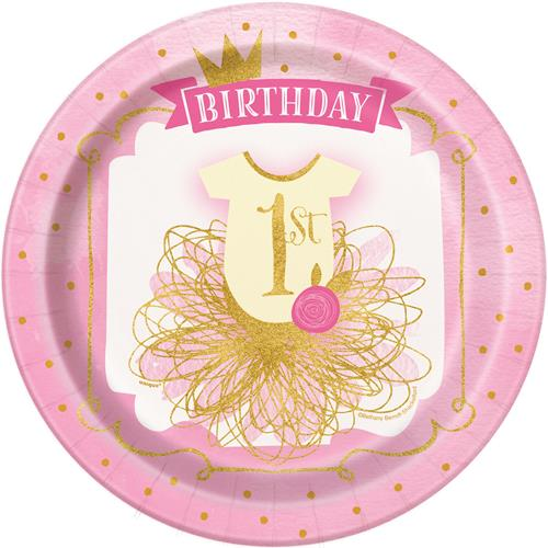 1ST BIRTHDAY PINK & GOLD DINNER PLATES - PACK OF 8