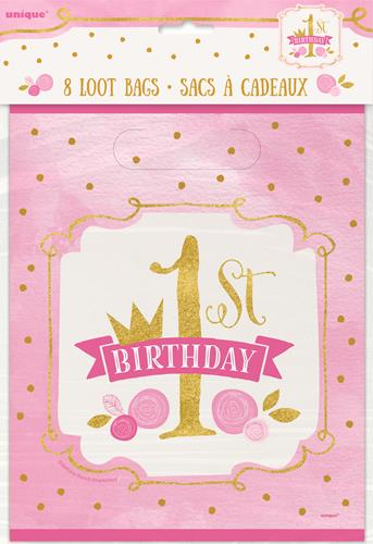 1ST BIRTHDAY PINK & GOLD LOOT BAGS - PACK OF 8