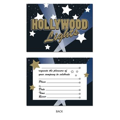 HOLLYWOOD LIGHTS INVITATIONS - PACK 8