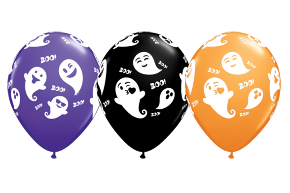 BALLOONS LATEX - EMOTICON GHOSTS PACK OF 25