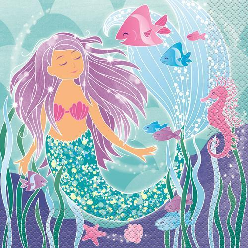 MERMAID PARTY LUNCH NAPKINS - PACK OF 16