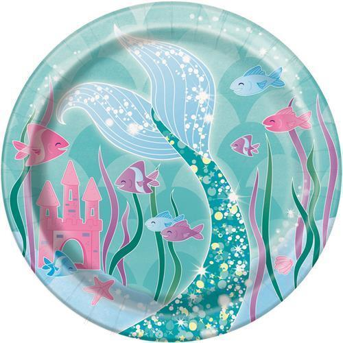 MERMAID PARTY LUNCH PLATES - PACK OF 8