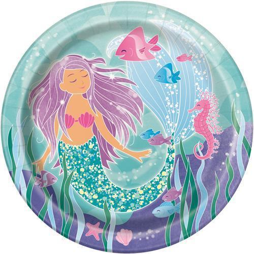 MERMAID PARTY DINNER PLATES - PACK OF 8