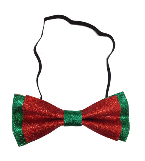 CHRISTMAS GLITTER BOW TIE - RED & GREEN
