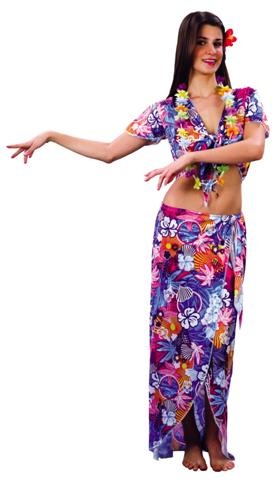 HAWAIIAN BEAUTY FANCY DRESS COSTUME - MEDIUM & SMALL