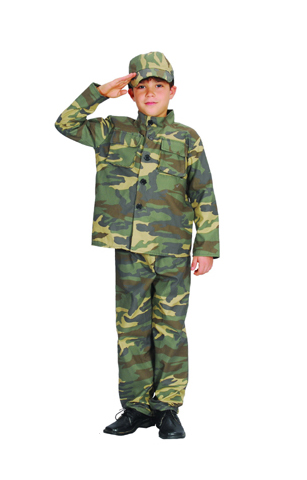 SOLDIER FANCY DRESS COSTUME - CHILD - LARGE & MEDIUM SIZES