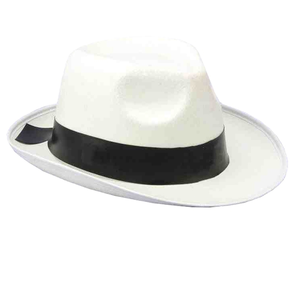 GANGSTER HAT 1920\'S WHITE FELT WITH BLACK RIBBON BAND