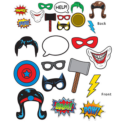 SELFIE PHOTO BOOTH PROPS - SUPER HERO SIGNS PACK OF 12