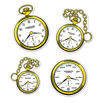 ALICE IN WONDERLAND CLOCK CUT OUTS - PACK OF 4