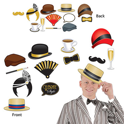 SELFIE PHOTO BOOTH PROPS - 1920'S GATSBY PACK OF 12