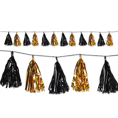 METALLIC PAPER TASSEL GARLAND - BLACK & GOLD 2.4M