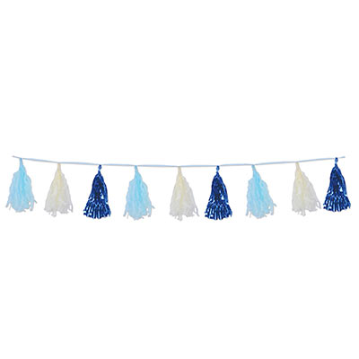 TISSUE & METALLIC PAPER TASSEL GARLAND - DARK & LIGHT BLUE 2.4M