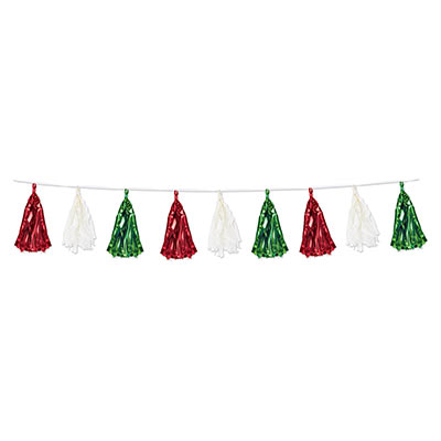 TISSUE & METALLIC PAPER TASSEL GARLAND - GREEN & RED 2.4M