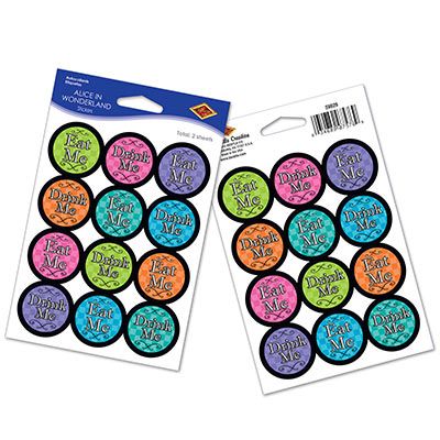 ALICE IN WONDERLAND STICKERS - PACK OF 12
