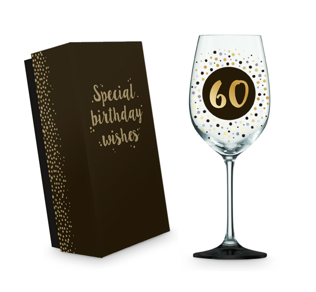 '60' CLEAR WINE GLASS BLACK, GOLD & SILVER DOTS WITH BLACK BASE