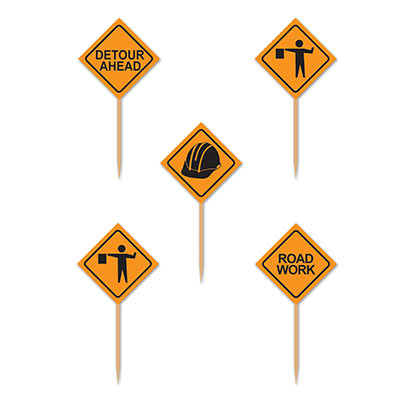 CONSTRUCTION SIGN FOOD PICKS - PACK OF 50
