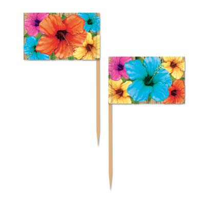 HIBISCUS FLOWER TOOTH PICKS PACK OF 50