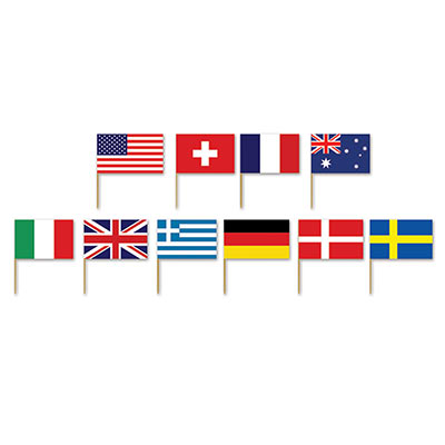 INTERNATIONAL FLAG TOOTHPICKS - PACK OF 50