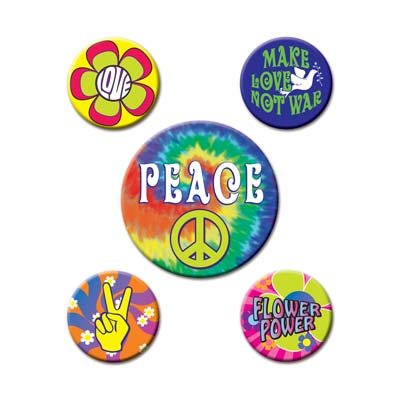 HIPPIE PARTY BUTTONS - PACK 5