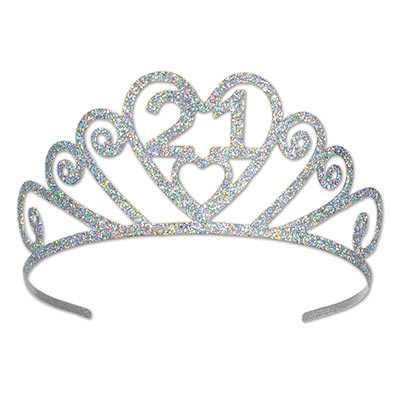 GLITTERED METAL TIARA 21ST BIRTHDAY