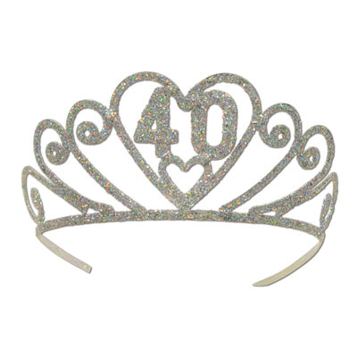 GLITTERED METAL TIARA 40TH BIRTHDAY