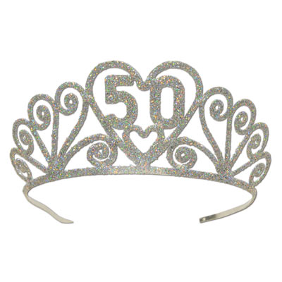 GLITTERED METAL TIARA 50TH BIRTHDAY