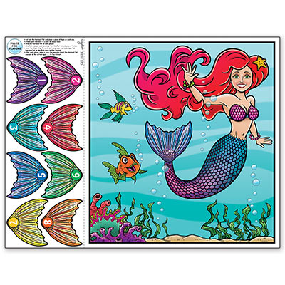 PARTY GAME - PIN THE TAIL ON THE MERMAID