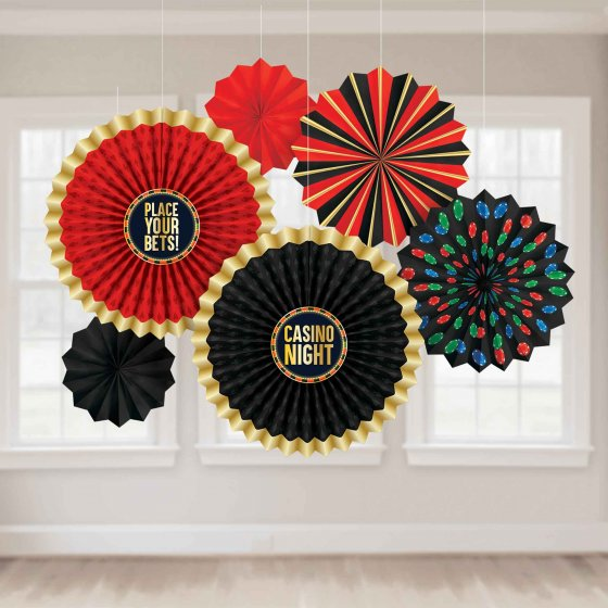 CASINO 'ROLL THE DICE' HANGING PAPER FANS PACK OF 6