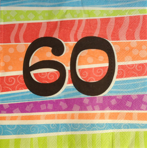 60TH BIRTHDAY NAPKIN COLOURFUL STRIPES PK 25