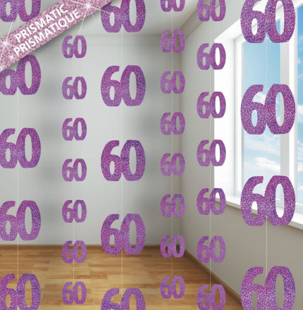 GLITZ PINK GLITTERED 60TH BIRTHDAY STRING DECORATIONS