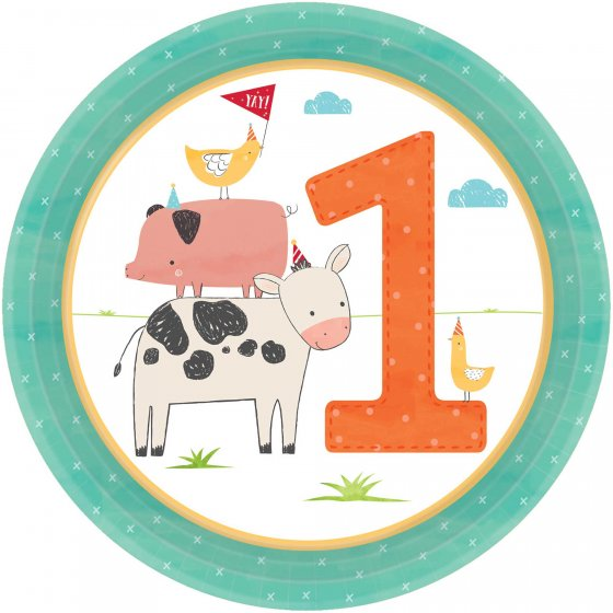 BARNYARD BIRTHDAY 1ST BIRTHDAY LUNCH PLATES PACK OF 8