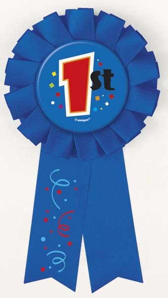 AWARD RIBBON ROSETTE - 1ST PLACE BLUE