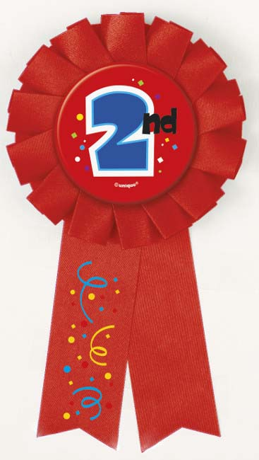 AWARD RIBBON ROSETTE - 2ND PLACE RED