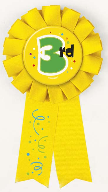 AWARD RIBBON ROSETTE - 3RD PLACE YELLOW