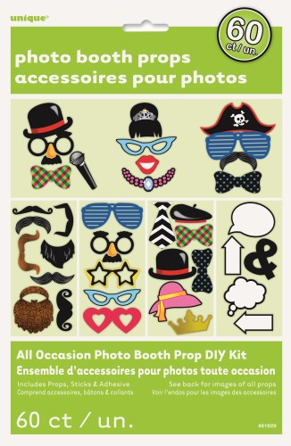 SELFIE PHOTO BOOTH PROPS - ALL OCCASSION BULK PACK OF 60