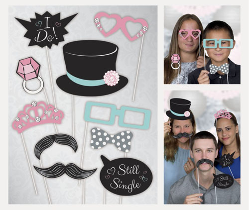 SELFIE PHOTO BOOTH PROPS - WEDDING PACK OF 10