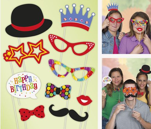 SELFIE PHOTO BOOTH PROPS - BIRTHDAY PACK OF 10