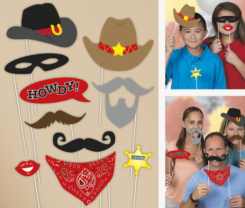 SELFIE PHOTO BOOTH PROPS - WESTERN PACK OF 10