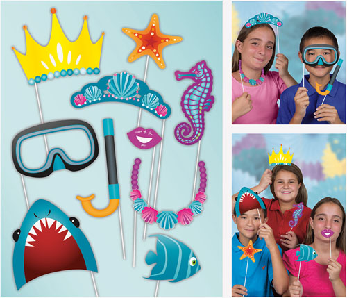 SELFIE PHOTO BOOTH PROPS - UNDER THE SEA PACK OF 10
