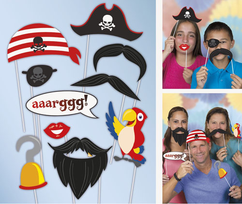 SELFIE PHOTO BOOTH PROPS - PIRATE PACK OF 10