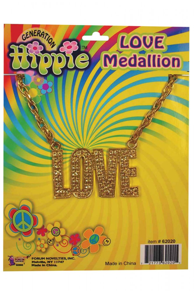 1960'S HIPPIE STYLE LOVE MEDALLION NECKLACE