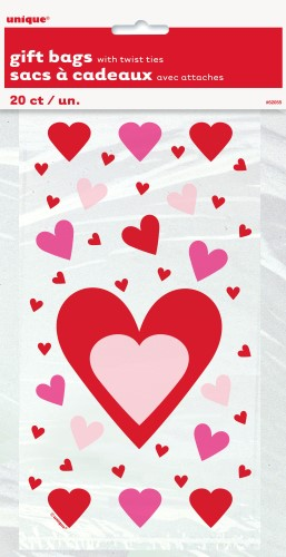 HEART PRINT CELLO BAGS PACK OF 20