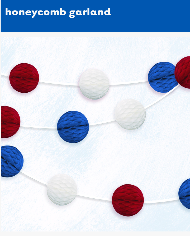 PATRIOTIC RED, WHITE & BLUE HONEYCOMB BALL GARLAND - 2.13M