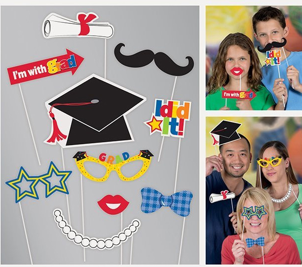 SELFIE PHOTO BOOTH PROPS - GRADUATION PACK OF 10