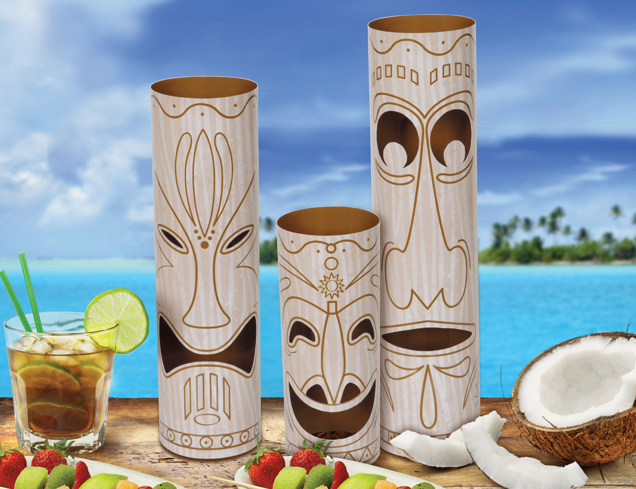 TIKI TOTEM POLES CENTREPIECES - PACK OF 3