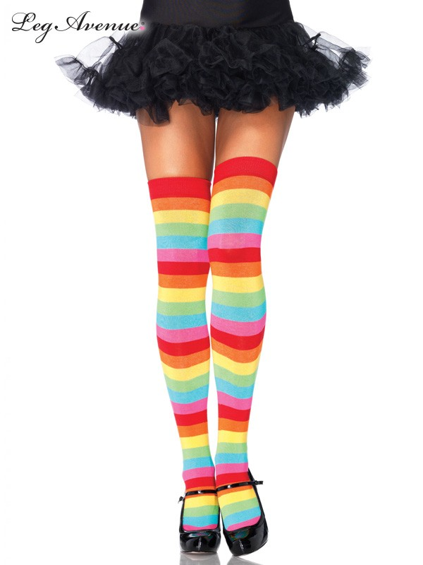 Image of Thigh High Socks  Bright Rainbow  Leg Avenue