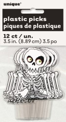 SKELETON CUP CAKE TOPPERS - PACK OF 12