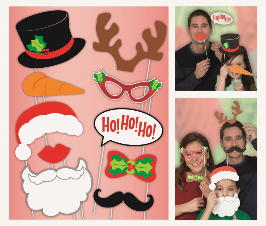 SELFIE PHOTO BOOTH PROPS - CHRISTMAS PACK OF 10