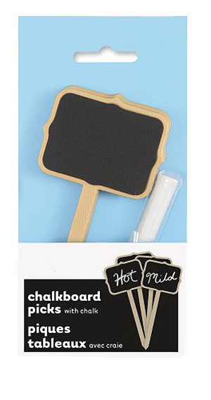 NATURAL KRAFT CHALKBOARD PICKS WITH CHALK - PACK 4